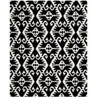 Safavieh Handmade Wyndham Black/ Ivory Wool Rug (8'9 x 12')
