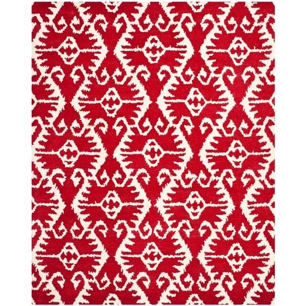 Safavieh Handmade Wyndham Red/ Ivory Wool Rug - 8' x 10'