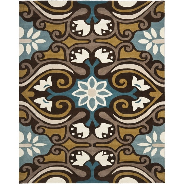 Safavieh Handmade Wyndham Blue/Brown Wool Rug - 8'9' x 12'