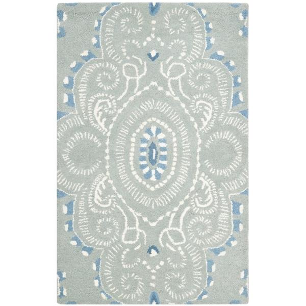 Safavieh Handmade Wyndham Blue/ Ivory Wool Rug (2' x 3')