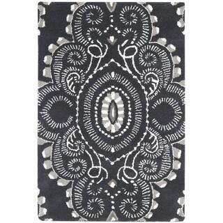 Safavieh Handmade Wyndham Dark Grey/ Ivory Wool Rug (2' x 3')