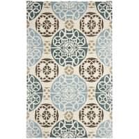 Safavieh Handmade Wyndham Beige/ Blue Wool Rug - 6' x 9'
