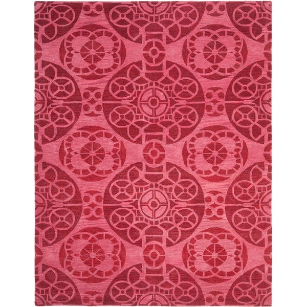 "Safavieh Handmade Wyndham Red Wool Rug - 8'-9"" x 12'"