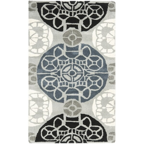 Safavieh Handmade Wyndham Grey/ Black Wool Rug - 2' x 3'