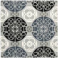 Safavieh Handmade Wyndham Grey/ Black Wool Rug - 5' x 5'