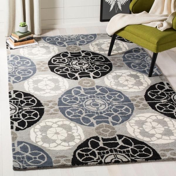Safavieh Handmade Wyndham Grey/ Black Wool Rug - 10' x 14'