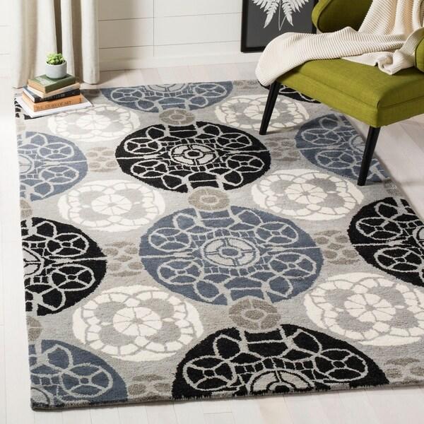 Safavieh Handmade Wyndham Grey/ Black Wool Rug - 11' x 15'