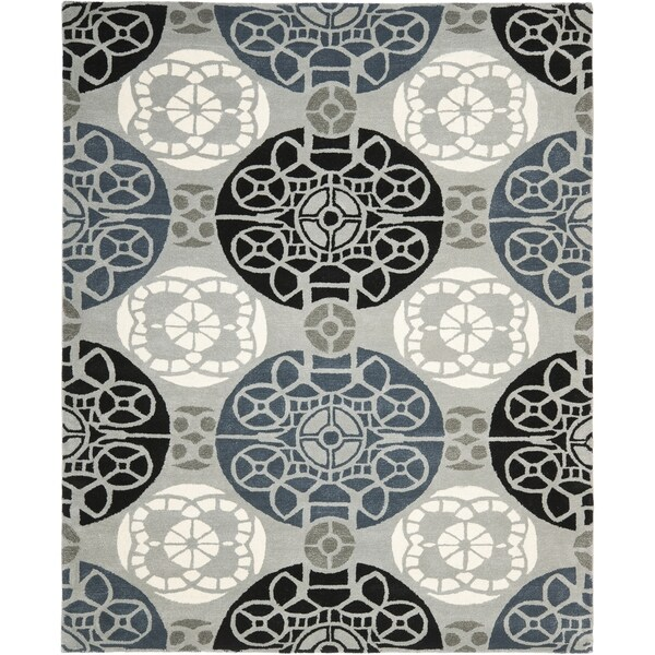 Safavieh Handmade Wyndham Grey/ Black Wool Rug - 8'9 x 12'
