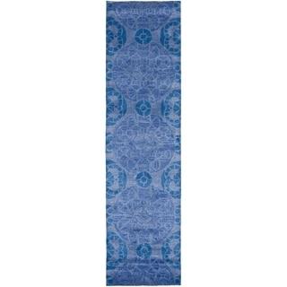 Safavieh Handmade Wyndham Blue Wool Runner Rug (2'3 x 13')
