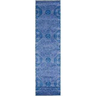 Safavieh Handmade Wyndham Contemporary Blue Wool Rug (2'3 x 7')