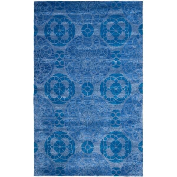 Safavieh Handmade Wyndham Blue Wool Rug - 10' x 14'
