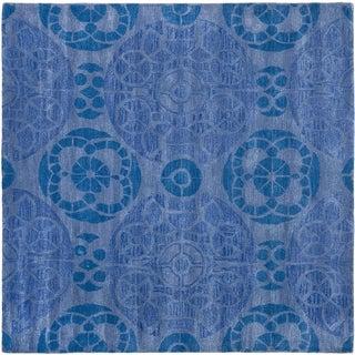 Safavieh Handmade Wyndham Blue Wool Rug (5' Square)