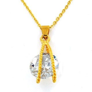 Goldplated Stainless Steel Cubic Zirconia Suspended Necklace
