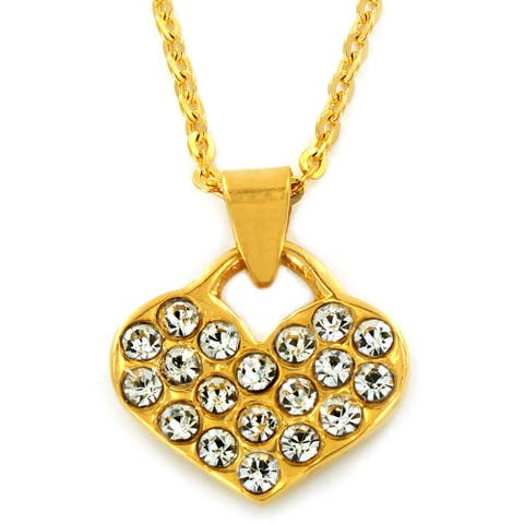 Gold Plated Stainless Steel Crystal Pave Heart Necklace