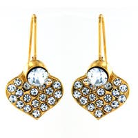 Gold Plated Stainless Steel Crystal Heart Earrings