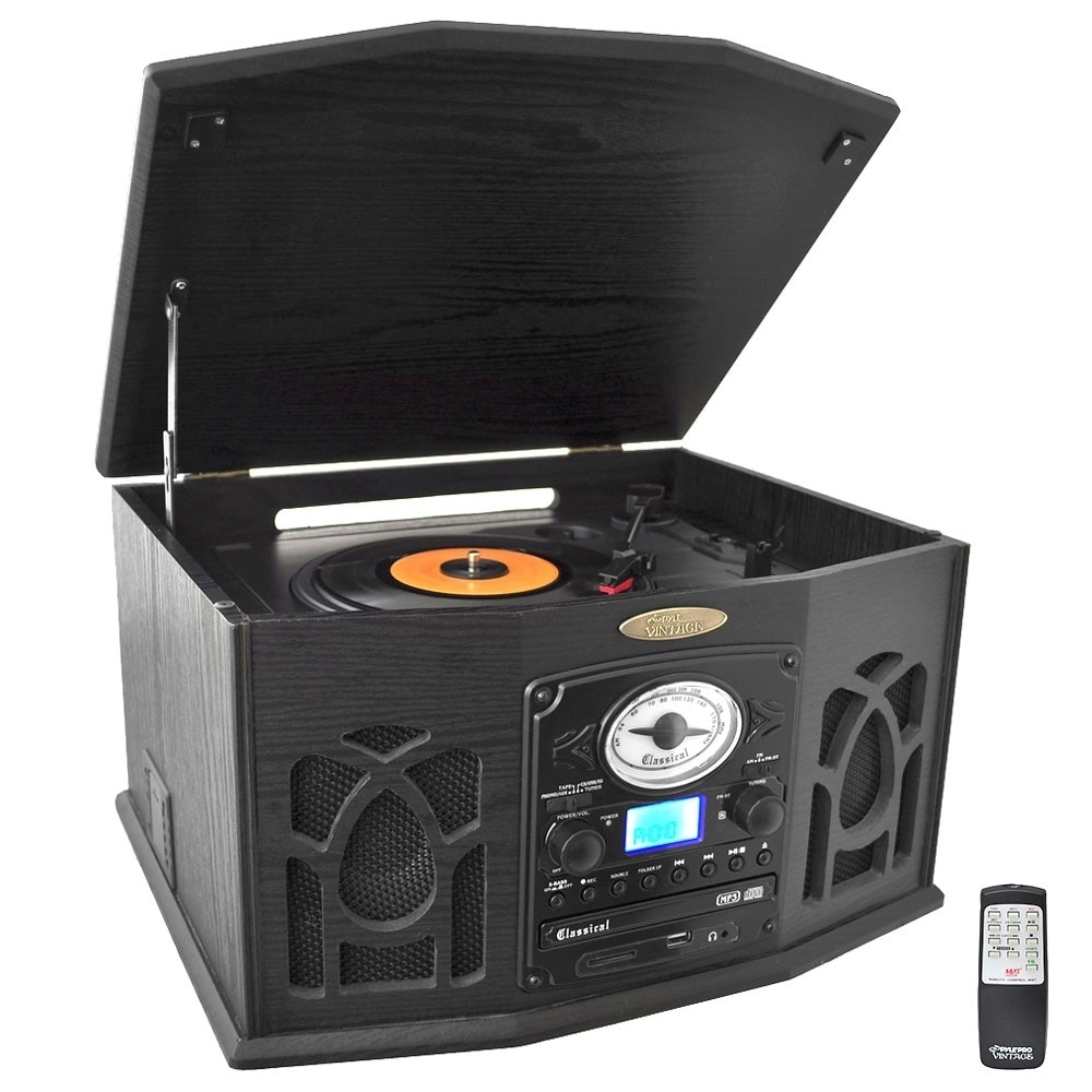 Pyle Home PTCDS7UIB Record/CD/Cassette Turntable, Black