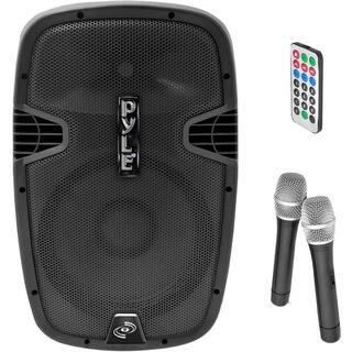 Pyle PPHP129WMU 12-Inch 1,000-Watt Bluetooth Music Streaming Loudspeaker, Rechargeable Battery, 2 Wireless Mics, FM Radio/USB/SD|https://ak1.ostkcdn.com/images/products/8079578/P15433715.jpg?impolicy=medium