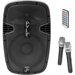 Pyle PPHP129WMU 12-Inch 1,000-Watt Bluetooth Music Streaming Loudspeaker, Rechargeable Battery, 2 Wireless Mics, FM Radio/USB/SD