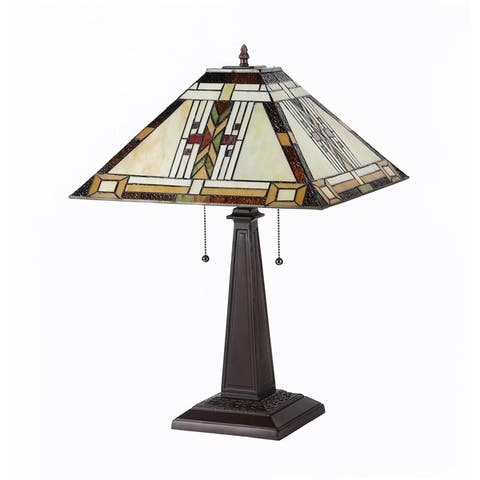 Tiffany Style Mission Design 2-light Tan Table Lamp