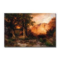 Thomas Moran 'Western Sunset' Canvas Art - Multi