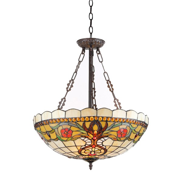 Chloe Tiffany Style Victorian Design 3-light Pendant