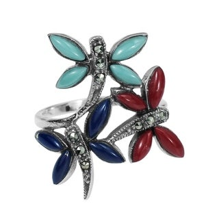 Handmade Sterling Silver Inlaid Gemstone Elegant Dragonflies Ring (Thailand)