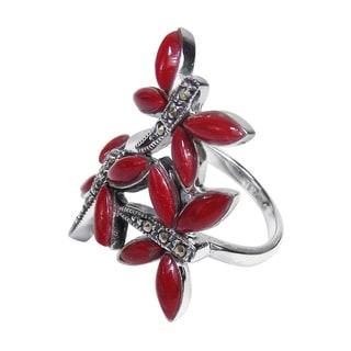 Sterling Silver Inlaid Gemstone Elegant Dragonflies Ring (Thailand)