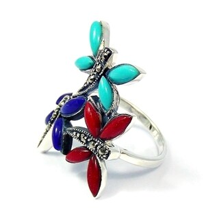 Handmade Sterling Silver Inlaid Gemstone Elegant Dragonflies Ring (Thailand)