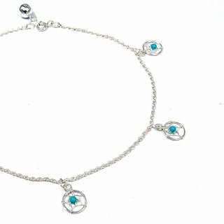 Handmade Sterling Silver Dreamcatcher Turquoise Embellished Anklet (Thailand)