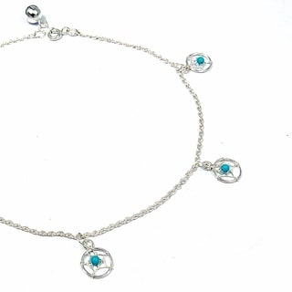 Sterling Silver Dreamcatcher Turquoise Embellished Anklet (Thailand)