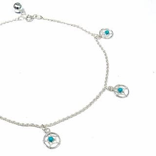 Handmade Sterling Silver Dreamcatcher Turquoise Embellished Anklet (Thailand)|https://ak1.ostkcdn.com/images/products/8079664/Sterling-Silver-Dreamcatcher-Turquoise-Embellished-Anklet-Thailand-P15433754.jpg?impolicy=medium
