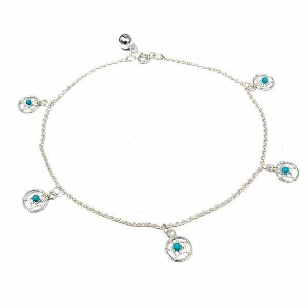 center dream white products or il turquoise catcher beaded bracelet anklet fullxfull