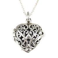 Handmade  Sterling Silver Romantic Filigree Heart Locket Necklace (Thailand)