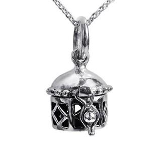Handmade Geometric Prayer Box Locket Sterling Silver Necklace (Thailand)