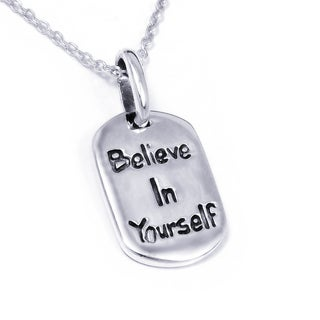 Handmade Sterling Silver 'Believe In Yourself' Message Necklace (Thailand)