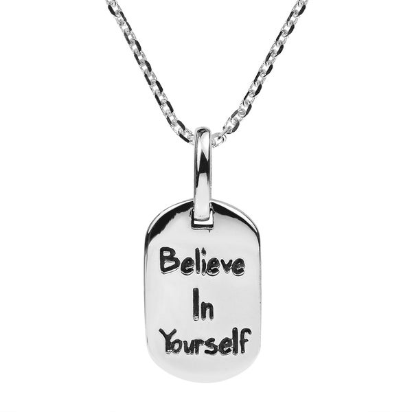 Shop Handmade Sterling Silver Believe In Yourself Message Necklace