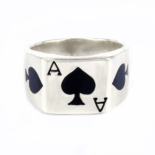 Handmade Sterling Silver'Ace of Spade Poker Card Enamel Ring (Thailand)
