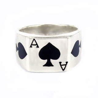 Handmade Sterling Silver'Ace of Spade Poker Card Enamel Ring (Thailand) (4 options available)