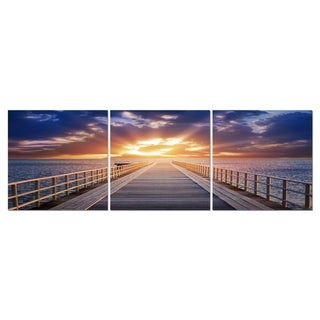 Baxton Studio Pier Sunrise Mounted Photography Print Triptych