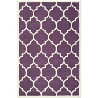 Safavieh Handmade Moroccan Purple/Ivory Wool Rug (6' x 9')