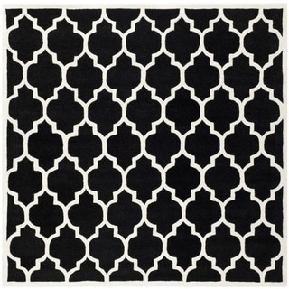 Safavieh Handmade Moroccan Black Geometric Wool Rug (8'9 Square)