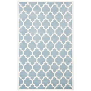 Safavieh Handmade Contemporary Moroccan Chatham Blue Wool Rug (6' x 9')