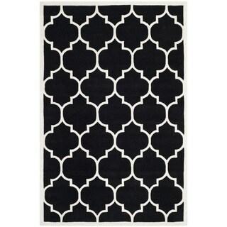 Safavieh Handmade Moroccan Black Wool Rug with Dense Pile (6' x 9')