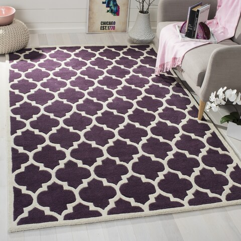 "Safavieh Handmade Moroccan Purple Indoor Wool Rug - 8'9"" x 8'9"" Square"