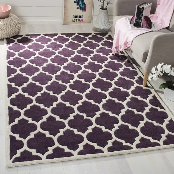 Safavieh Handmade Moroccan Purple Pure Wool Rug (7' Square) - 7' x 7'