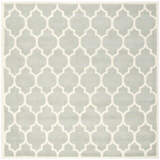 "Safavieh Handmade Moroccan Gray Wool Geometric Rug (8'9"" Square)"