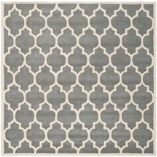 Safavieh Handmade Moroccan Dark Grey Geometric Pattern Wool Rug (8'9 Square)