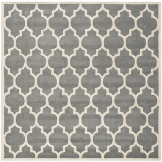 Safavieh Handmade Moroccan Chatham Dark Grey Wool Rug (7' Square)