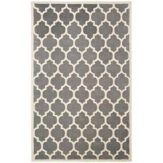 Safavieh Chatham Handmade Moroccan Dark Gray Geometric Wool Rug (6' x 9')