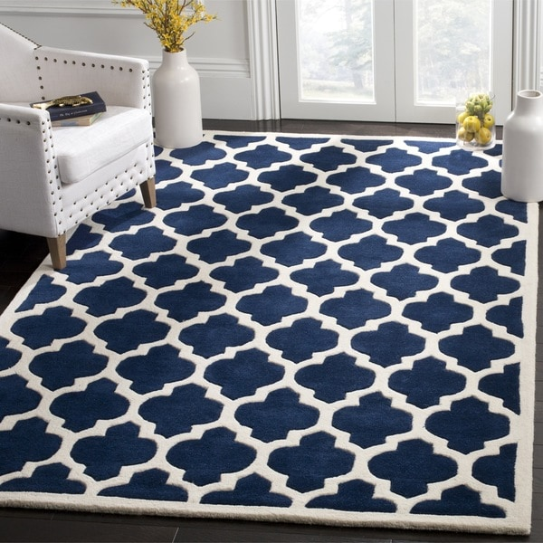 Safavieh Handmade Moroccan Chatham Trellis-pattern Dark Blue Wool Rug (6' x 9') - 6' x 9'
